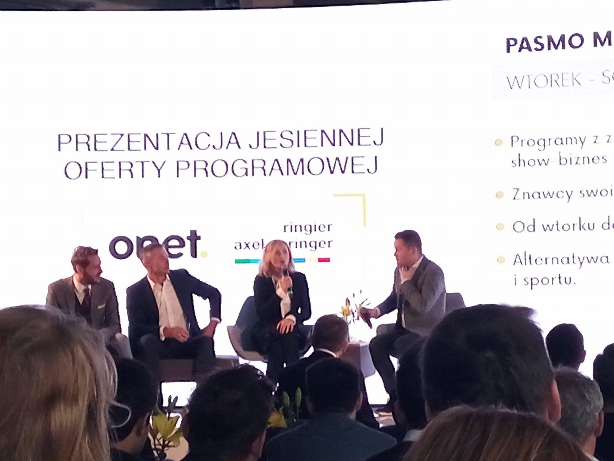 Prezentacja ramówki Onetu. Ol lewej: Marcin Cejrowski, Łukasz Grass, Katarzyna Janowska, Jarosław Kuźniar