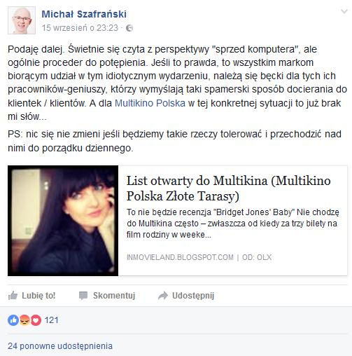 fot. print screen facebook/michal.szafranski