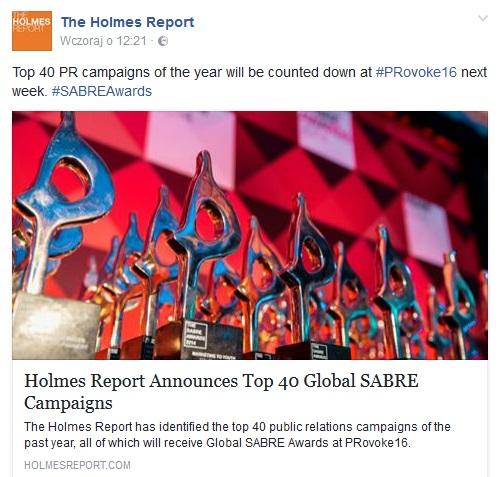 fot. print screen Facebook/The Holmes Report