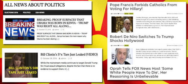"""Przykładowe """"newsy"""" z """"amerykańskich"""" mediów/ fot. BuzzFeed.com"""