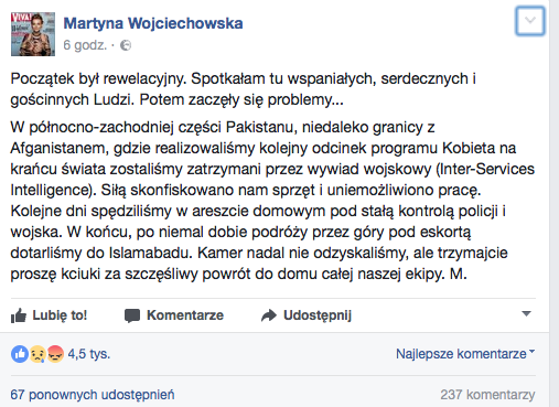zrzut ekranu/ Martyna Wojciechowska/ Facebook