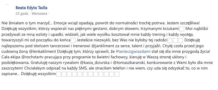 """Wielkie zwycięstwo Beaty Tadli w """"Tańcu z gwiazdami"""""""